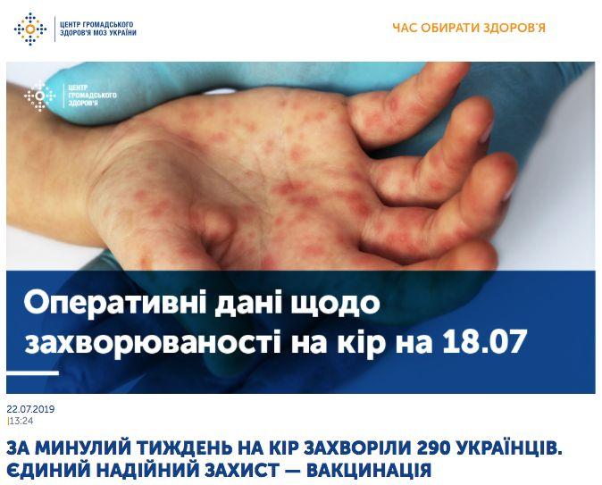 Заболеваемость корью на Украине