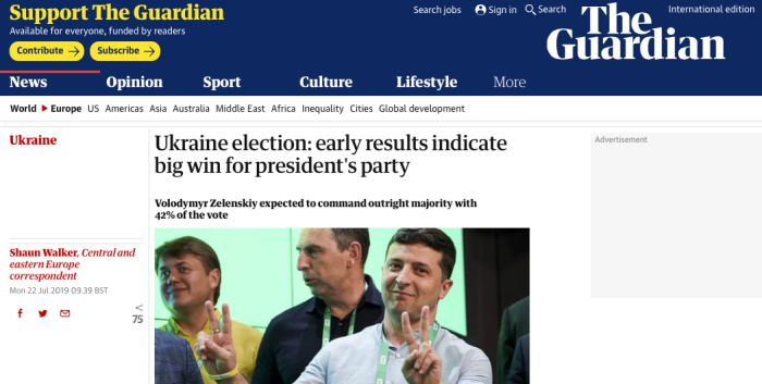 Ukraine election: early results indicate big win for president's party