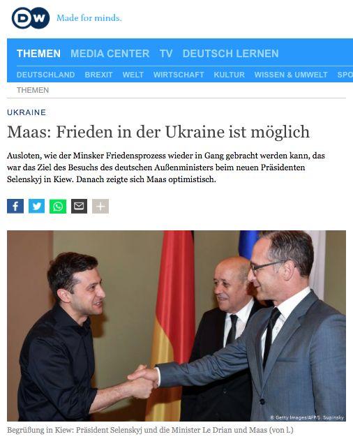Deutsche Welle «Maas: Frieden in der Ukraine ist m?glich»