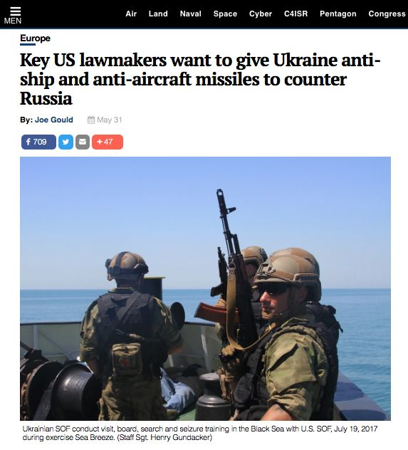 The Defense News «Key US lawmakers want to give Ukraine anti-ship and anti-aircraft missiles to counter Russia»