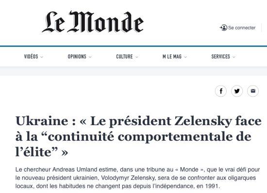 """Ukraine: «Le président Zelensky face à la """"continuité comportementale de l'élite""""»"""