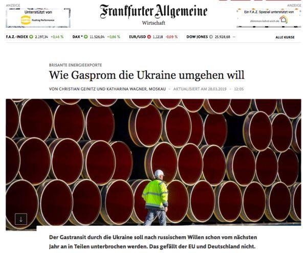 Frankfurter Allgemeine Zeitung о газовом транзите через Украину