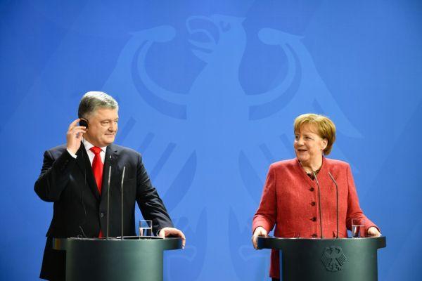 Совместный выход П. Порошенко и А. Меркель к прессе 12 апреля 2019 года