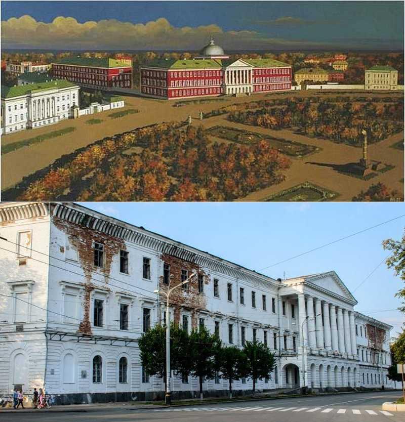 Здание Полтавского Петровского кадетского корпуса прежде и теперь: это и главный позор, и символ нынешней Полтавы.