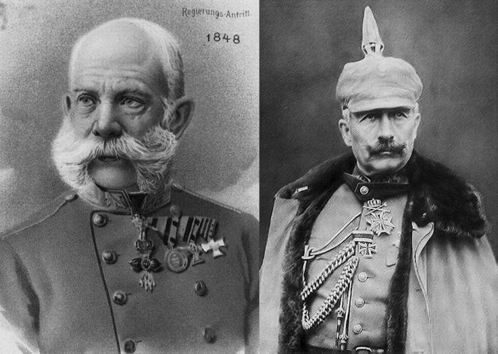Император Австро-Венгрии Франц-Иосиф I и германский император Вильгельм II – зачинщики Первой мировой войны.