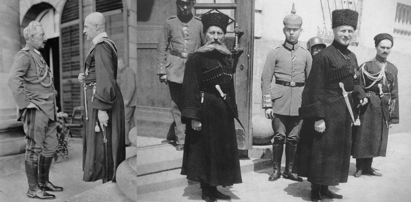 «Стань передо мной, как лист перед травой»: император Германской империи Вильгельм II и гетман Скоропадский на встрече в Ставке Верховного командования в Спа в августе 1918 года (снимок слева), ряженый гетман Павел Скоропадский и немцы.