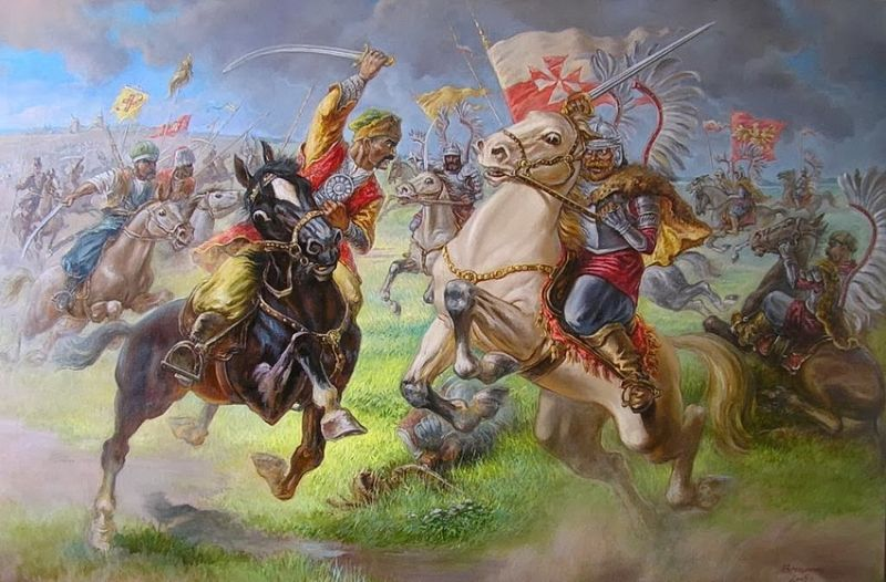 Схватка татарской конницы и польских крылатых гусар