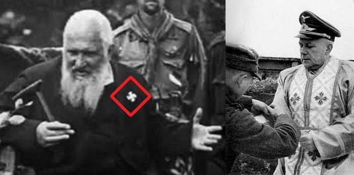 Андрей Шептицкий со свастикой на груди и его творение – капеллан УГКЦ в батальоне «Нахтигаль».