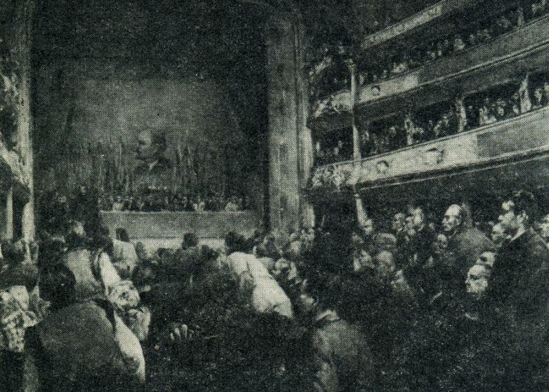 Народное Собрание Западной Украины (26-28 октября 1939 г., г. Львов). Репродукция картины художника М. Добронравова