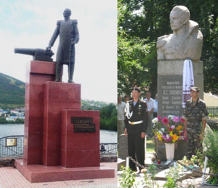 Памятники адмиралу В.С. Завойко в с.Великая Мечетня (справа) и в Петропавловске-Камчатском.
