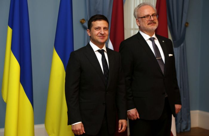Владимир Зеленский и Эгилс Левитс, президент Латвии