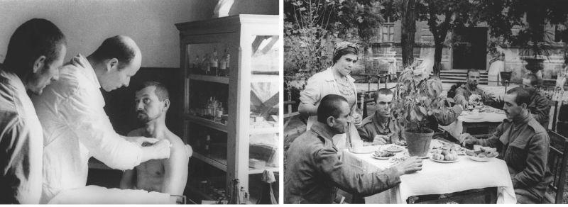 Пленные румыны в одесском лагере военнопленных на осмотре у врача