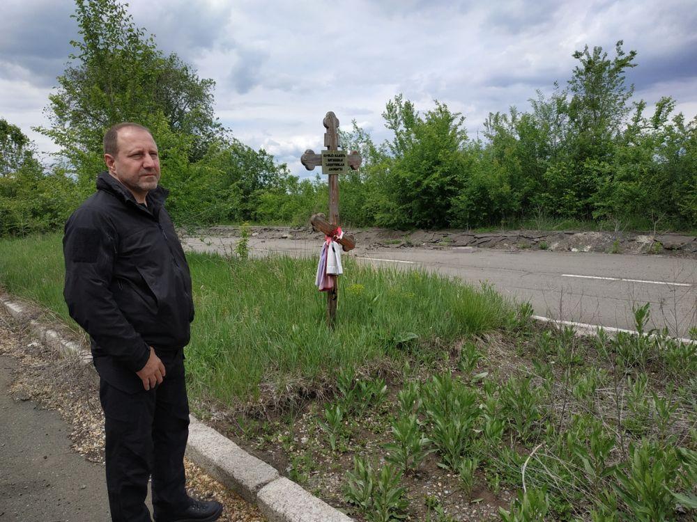 Александр Ходаковский на месте гибели добровольцев в районе ДАП