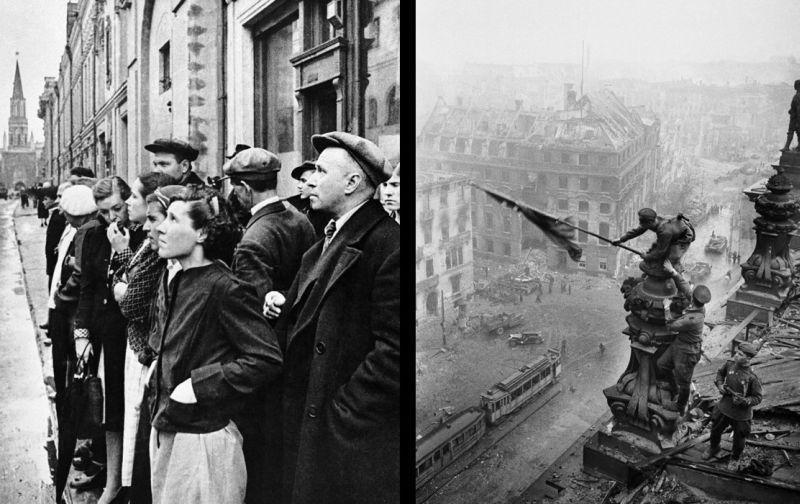 Знаменитые фото Е. Халдея – запечатлённые мгновения начала и окончания Великой Отечественной