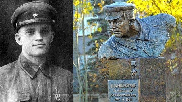 Фото и бюст Героя Советского Союза политрука Александра Панкратова