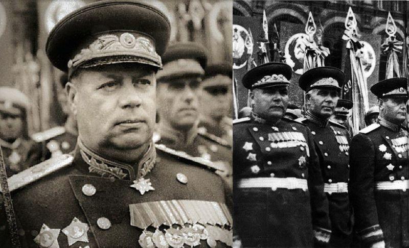 Ф.И. Толбухин (слева) и Р.Я. Малиновский (на правом снимке крайний слева) на Параде Победы 24 июня 1945 года