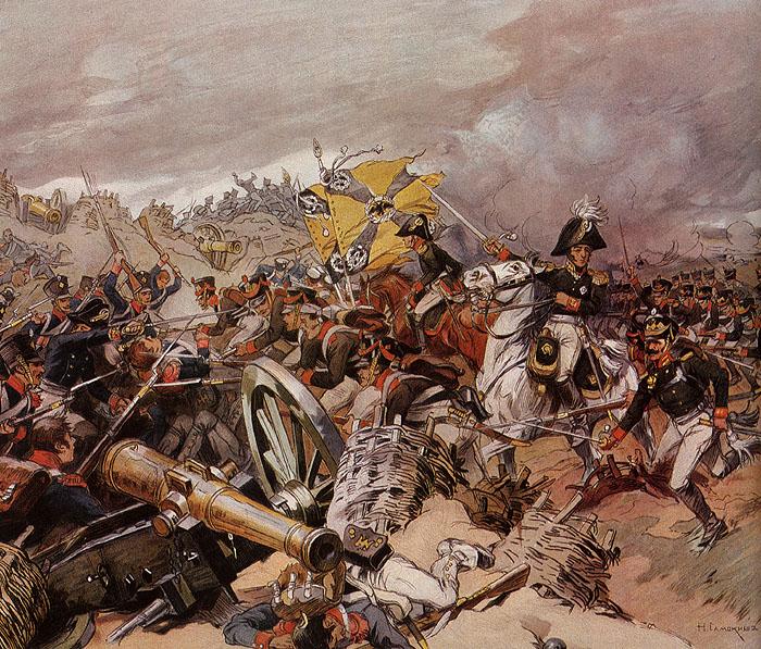 Атака Шевардинского редута. Картина Николая Самокиша (1910 г.)