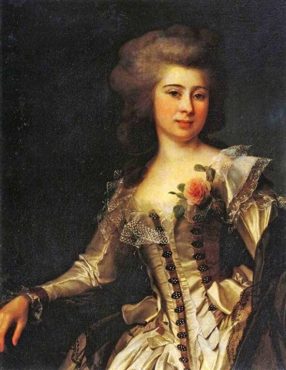 Необычайным обаянием обладает полотно художника «Портрет неизвестной с розой» (1788)