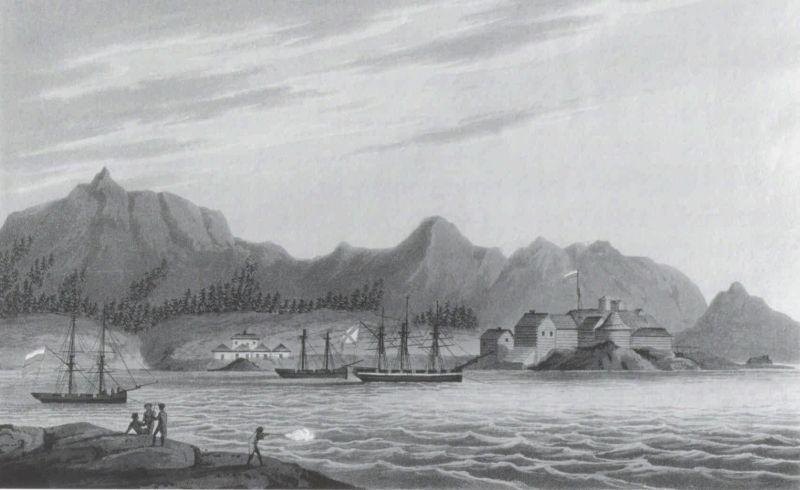 Гавань Ново-Архангельск на Ситке, середина 19 века