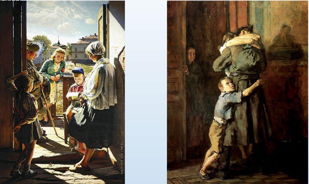 А. Лактионов. Письмо с фронта; В. Костецкий. «Возвращение». 1947 г.