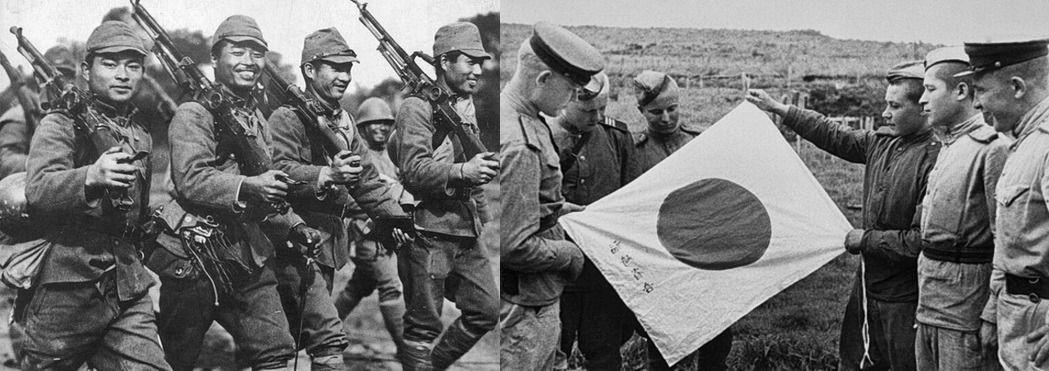Японские солдаты периода Второй мировой; справа – бойцы РККА рассматривают трофейный японский флаг