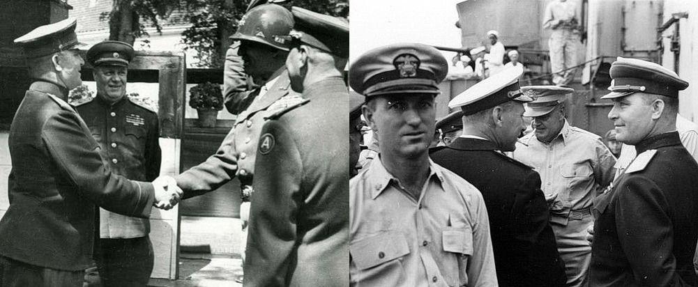 Блестящий военный дипломат генерал-лейтенант К.Н. Деревянко. На левом снимке он здоровается с генералом Паттоном (Австрия, май 1945 года), справа – на борту линкора «Миссури», незадолго до подписания Акта о капитуляции Японии