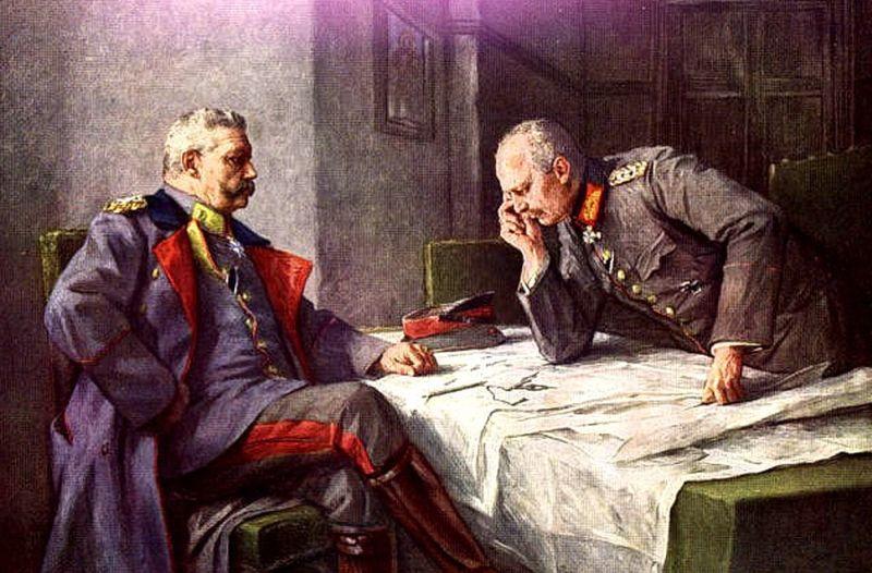 Пауль фон Гинденбург (слева) и Эрих Людендорф в штабе.