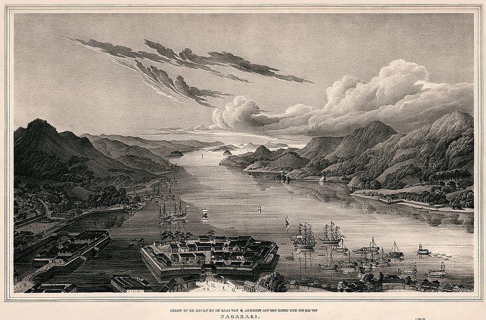 Насыпной остров Дэдзима в бухте города Нагасаки – место первого проникновения европейцев в Японию
