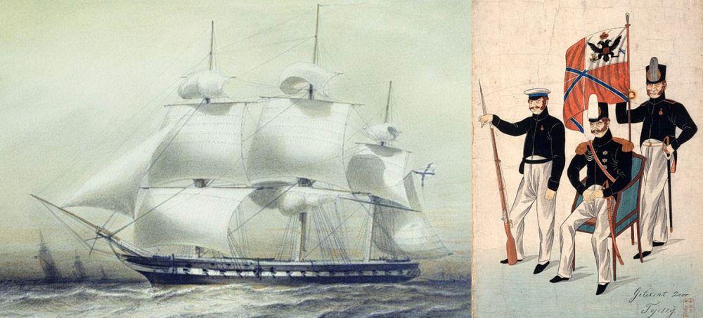 Фрегат «Паллада», на котором русская дипломатическая миссия отправилась в Японию; вице-адмирал Е.В. Путятин на переговорах в Нагасаки. Японский рисунок 1853 года