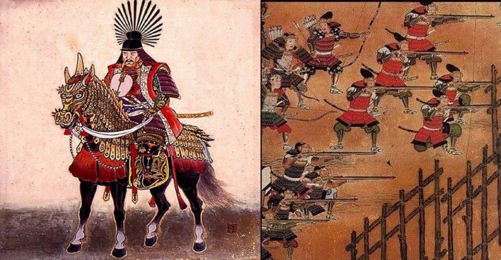 Кампаку Тоётоми Хидэёси, один из отцов японского милитаризма; справа – проникновение европейского оружия в Японию изменило характер азиатских войн. Старинные рисунки