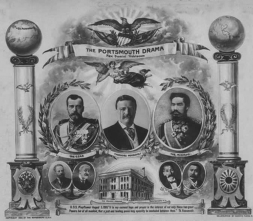 Один из закопёрщиков русско-японской войны Теодор Рузвельт представлен американской пропагандой главным миротворцем. Слева от него русский царь Николай II, справа – император Японии Мэйдзи, внизу руководители русской и японской делегаций в Портсмуте