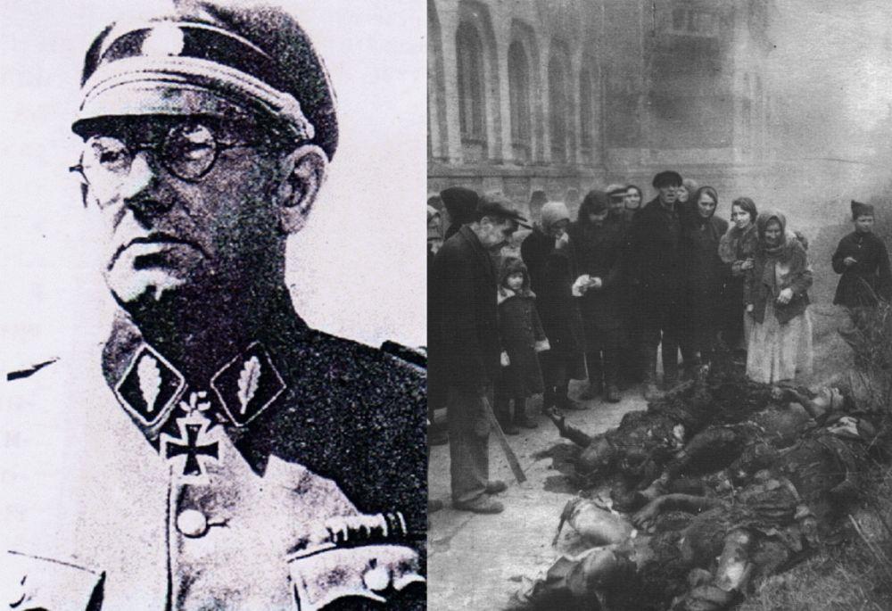 Главный обвиняемый на Полтавском процессе генерал-майор Хельмут Беккер; справа – тела полтавчан, убитых эсесовцами, извлечённые из здания сожжённого фашистами краеведческого музея