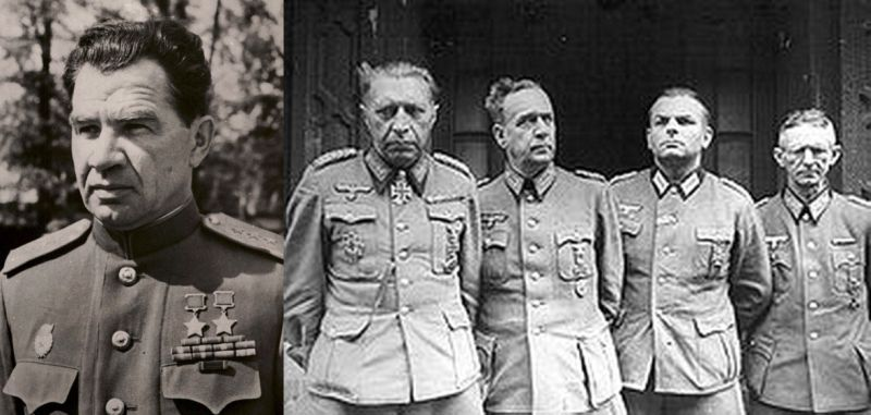 Генерал-полковник В.И. Чуйков; на правом снимке – Гельмут Вейдлинг (крайний слева) и офицеры его штаба сдаются в плен советским войскам. Берлин. 2 мая 1945 года