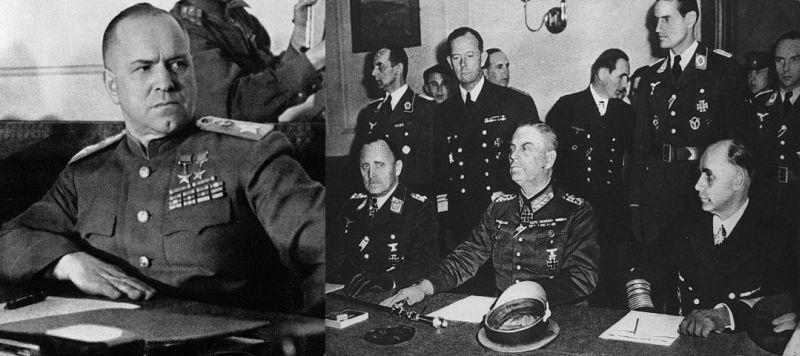 Представитель Верховного Главнокомандования Красной Армии Маршал Советского Союза Г. К. Жуков и представители германского главнокомандования генерал-полковник Штумпф, генерал-фельдмаршал Кейтель  и генерал-адмирал фон Фридебург на подписании Акта о капитуляции Германии