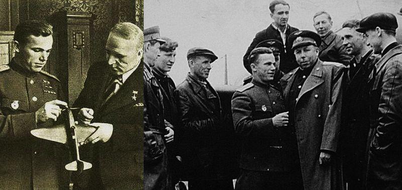 На снимке справа – И.Н. Кожедуб и конструктор С.А. Лавочкин среди сотрудников завода № 21 (г. Горький); слева - И.Н. Кожедуб и конструктор вооружений самолётов Лавочкина Б.Г. Шпитальный
