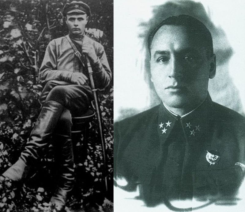 Алексей Антонов – помощник начальника штаба 14-й дивизии (1919 год); справа он – генерал-лейтенант (1942 год)