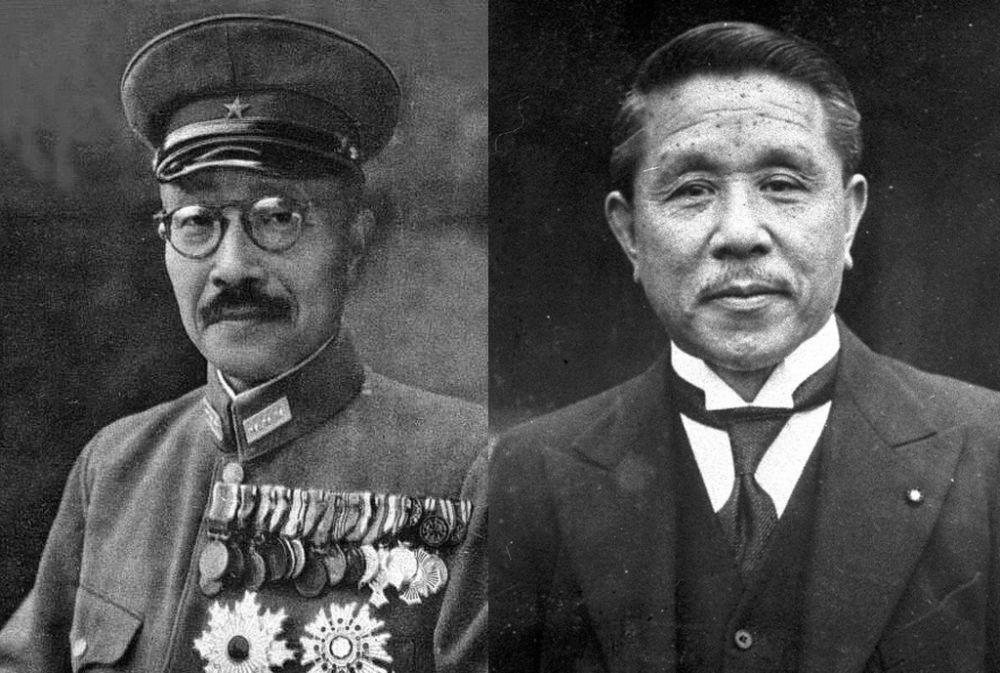 Два из 15 премьер-министров, управлявших милитаристской Японией - Хидэки Тодзио (слева) и Коки Хирота, признанные военными преступниками и казнённые по приговору Токийского трибунала