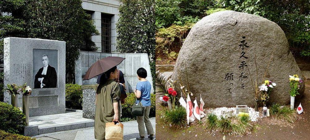 Монумент в честь индийского судьи Радхабинода Пала в токийском храме Ясукуни; справа - памятник военным преступникам в центральном парке Хигаси-Икэбукуро (Токио, район Тосима)