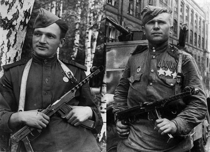 Бойцы РККА с автоматами ППС (Судаева)