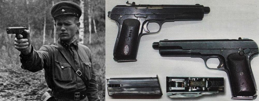 На снимке справа - 7,62-мм пистолет Токарева, опытный образец 1928 года; слева – лейтенант РККА с пистолетом «ТТ» образца 1933 года.