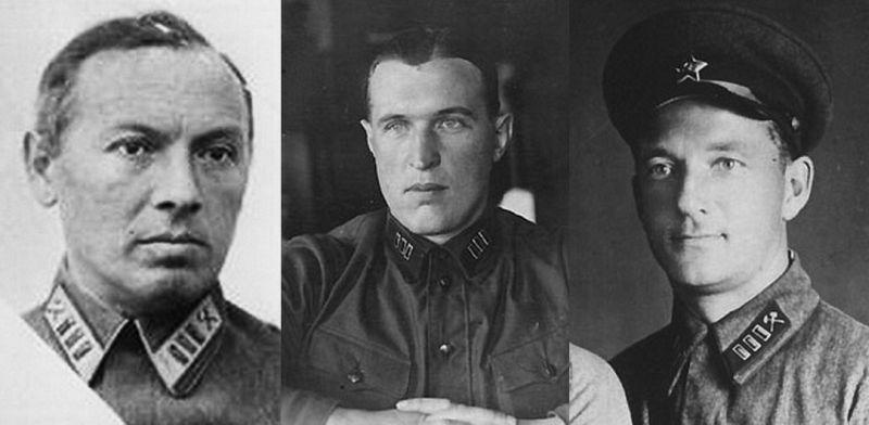 Создатели «Катюши» И.Т. Клеймёнов, Б.С. Петропавловский, Г.Э. Лангемак (на фото слева направо).