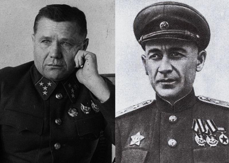 Заместитель командующего Западным фронтом генерал-лейтенант А.И. Ерёменко, который дал первое блестящее заключение о применении БМ-13 (слева) и заместитель начальника артиллерии Западного фронта генерал-майор Г.С. Кариофилли, отдавший приказ применить их.