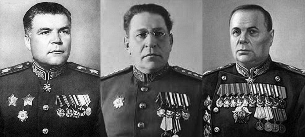 Командующие фронтами во время проведения Маньчжурской стратегической наступательной операции (слева направо): Р.Я. Малиновский, М.А. Пуркаев, К.А. Мерецков