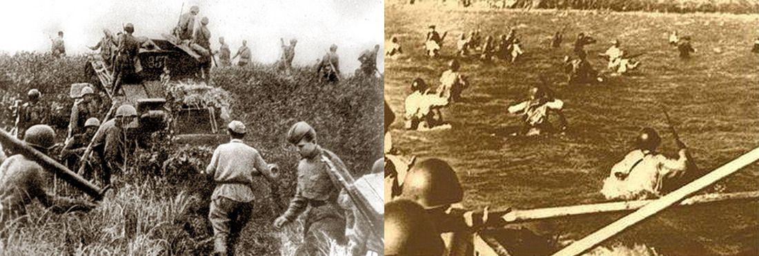 Кадры хроники: советская пехота переходит границу Манчжурии 9 августа; высадка советского морского десанта на остров Шумшу 18 августа 1945 года