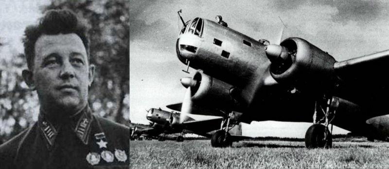 Участник первого налёта ВВС РККА на Берлин полковник, Герой Советского Союза Евгений Преображенский и самолёты ДБ-3А, на которых были доставлены бомбы в столицу рейха.