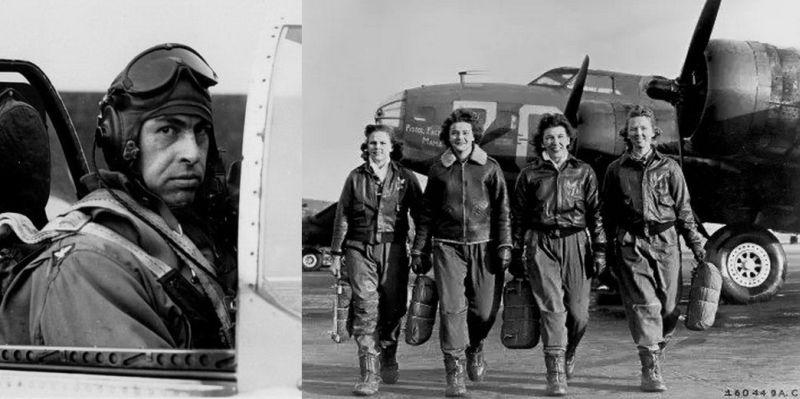 Американский пилот на аэродроме Полтавского аэроузла (слева); справа – женский экипаж одной из «летающих крепостей»
