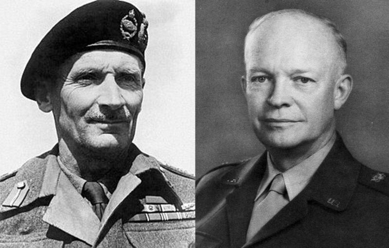 Фельдмаршал Бернард Лоу Монтгомери (слева) и генерал Дуайт Эйзенхауэр, у которых со взятием Берлина с самого начала дело не заладилось