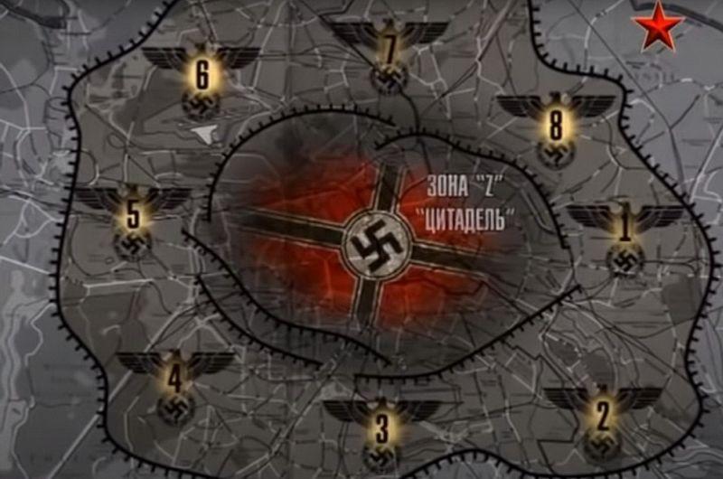 Схема обороны Берлина с разбивкой по секторам