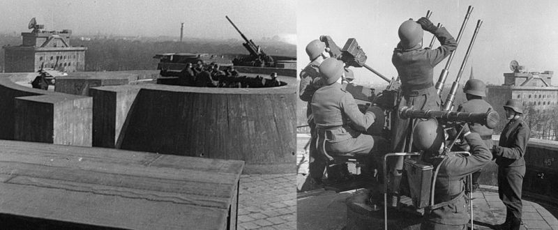 Авиационная защита на зенитной башне в зоопарке Берлина