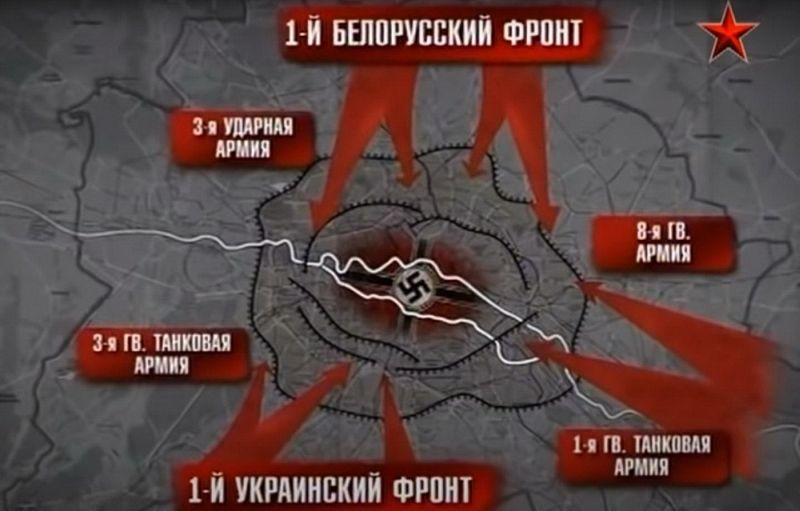 Схема окружения Берлина армиями 1-го Белорусского и 1-го Украинского фронтов